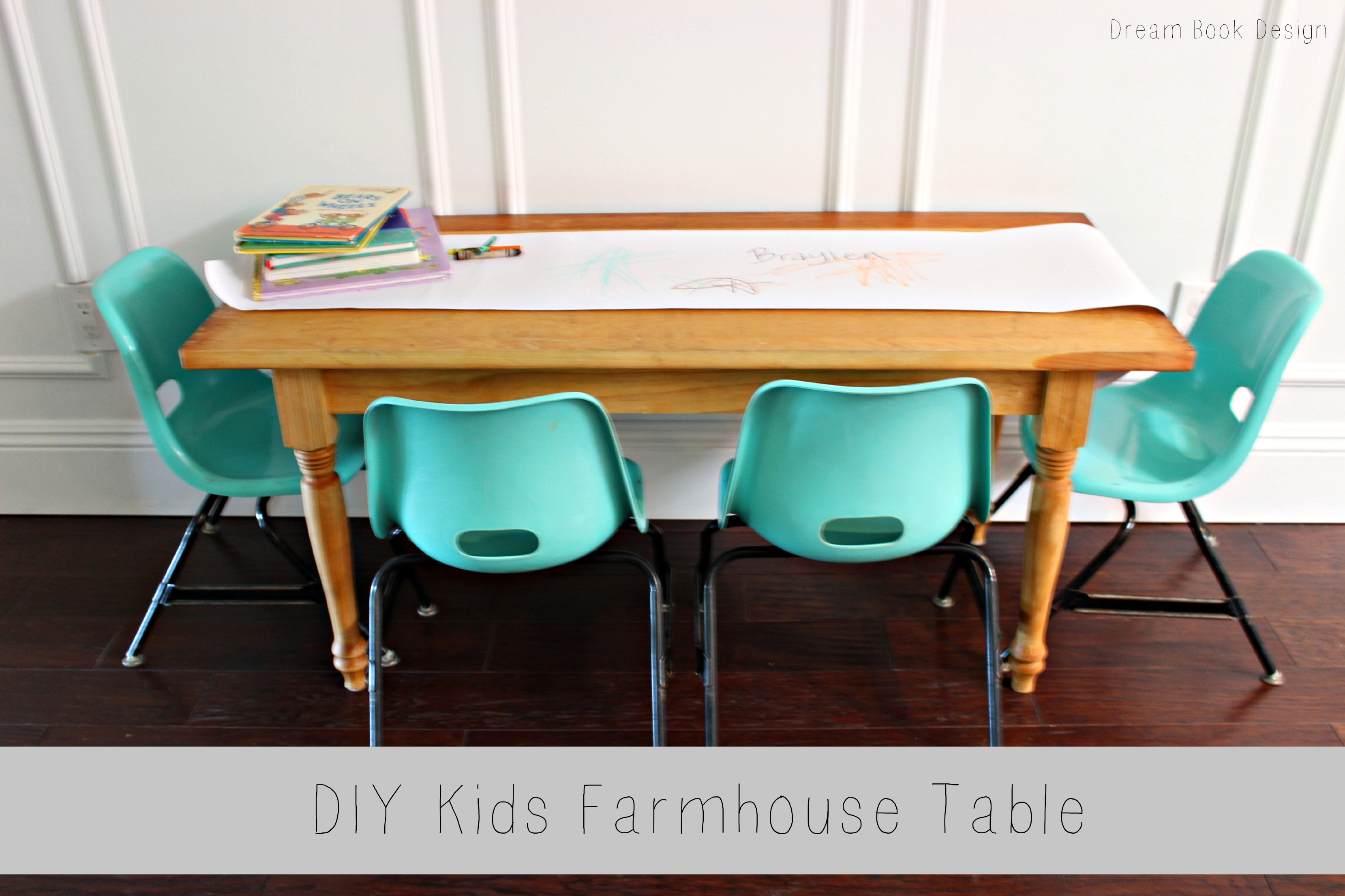 DIY Kids Farmhouse Table - Dream Book Design