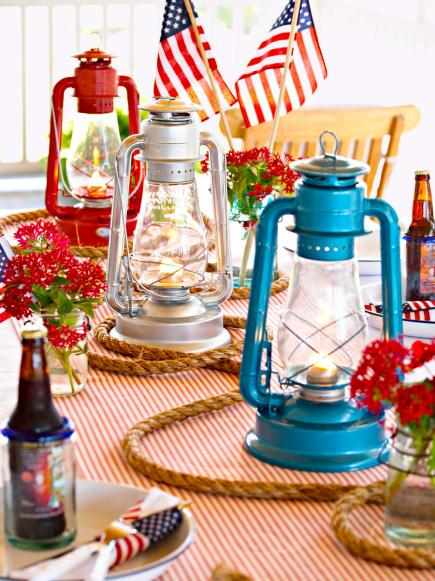 red white and blue lanterns