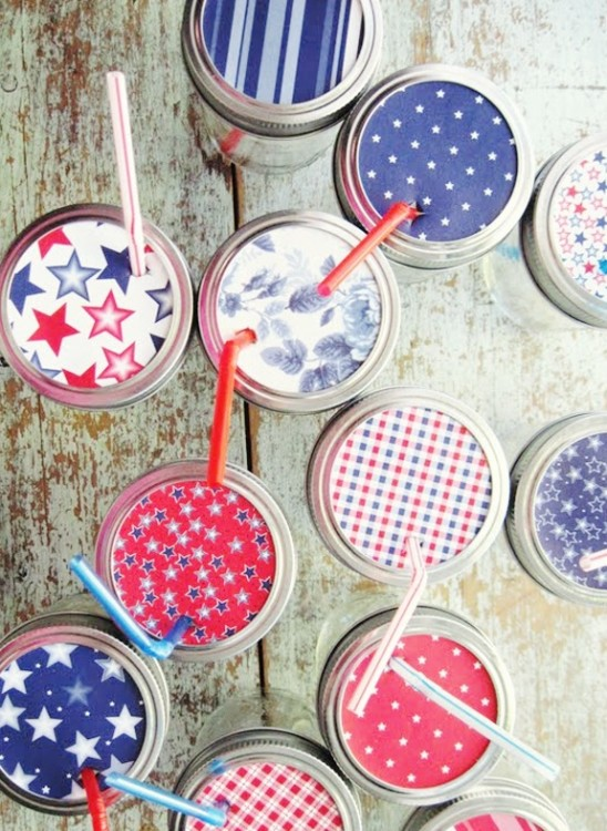 memorial day 4th of july mason jar cups