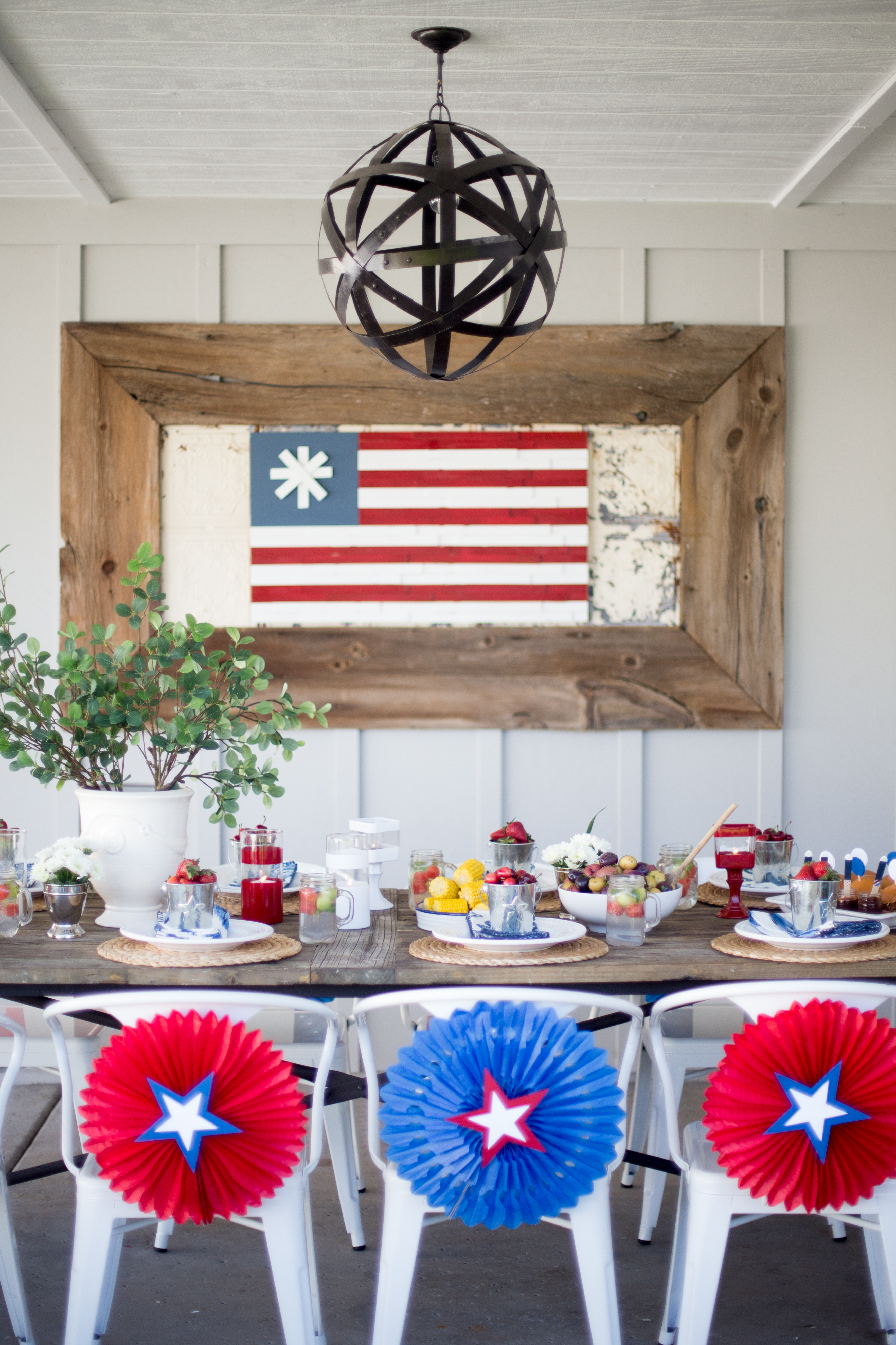 a red  white  and blue 4th of july party