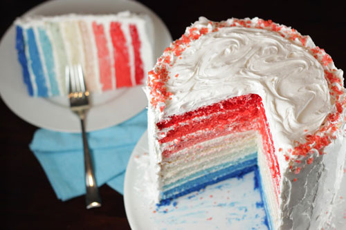 4th of july memorial day ombre cake