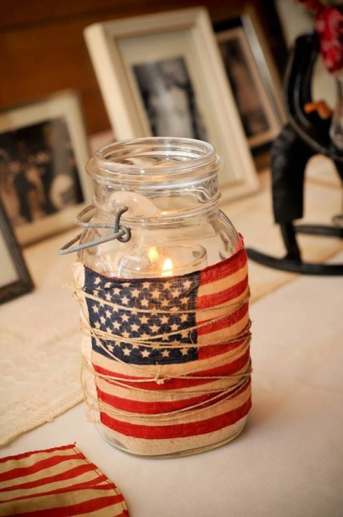 american flag mason jar tealight