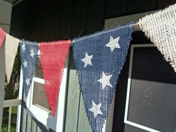memorial day 4th of july burlap banner