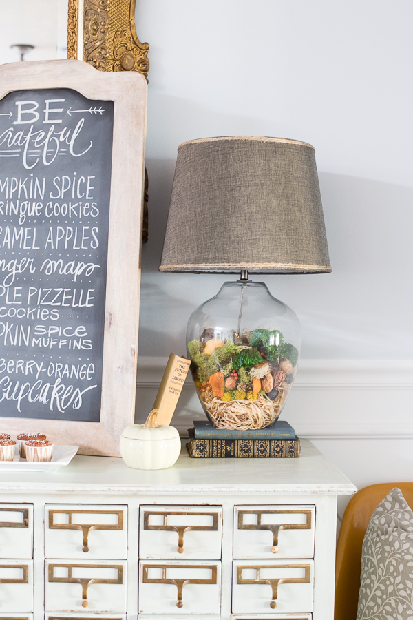 DIY fall glass lamp by Dream Book Design