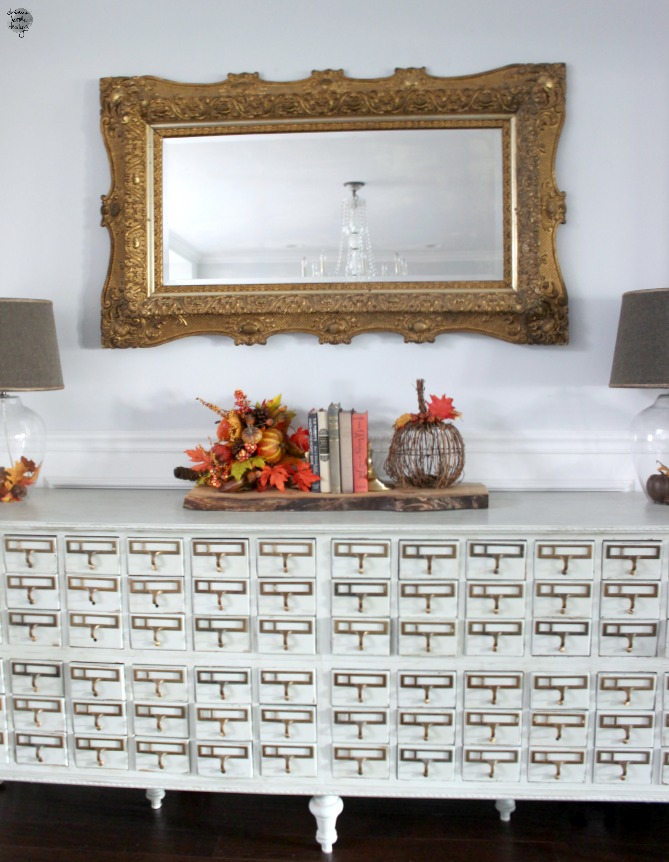 fall home card catalog buffet