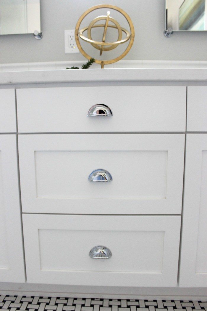white cabinets with chrome hardware  dreambookdesign.com