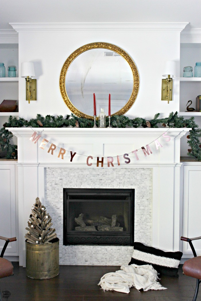 metallic christmas mantel