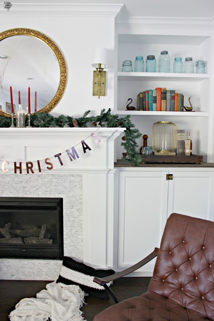 metallic christmas mantel dreambookdesign.com